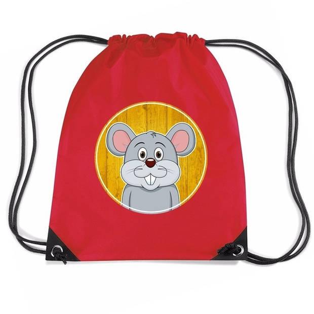 Muizen rijgkoord rugtas / gymtas - rood - 11 liter - voor kinderen