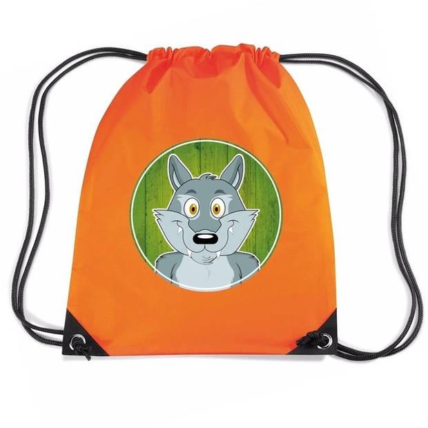 Wolven rijgkoord rugtas / gymtas - oranje - 11 liter - voor kinderen