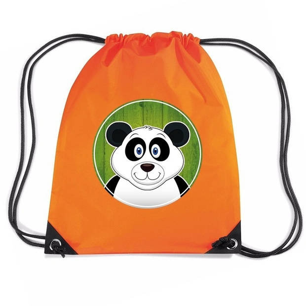 Panda rijgkoord rugtas / gymtas - oranje - 11 liter - voor kinderen