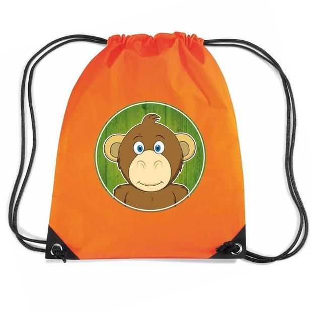 Apen rijgkoord rugtas / gymtas - oranje - 11 liter - voor kinderen