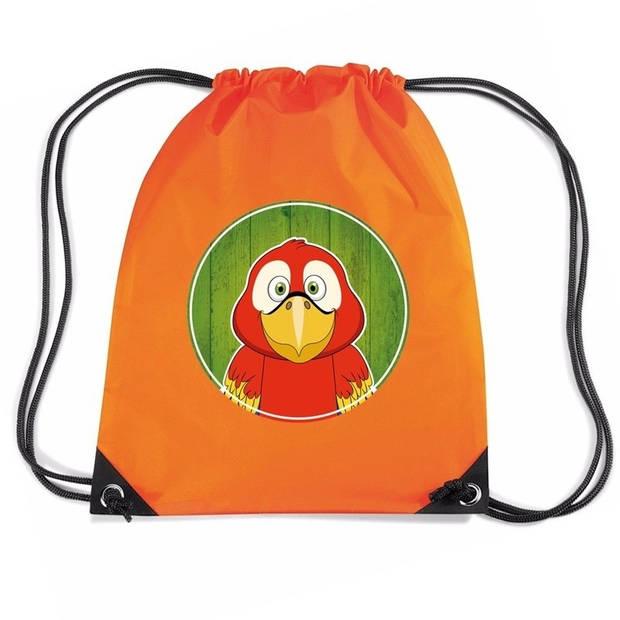 Papegaaien rijgkoord rugtas / gymtas - oranje - 11 liter - voor kinderen