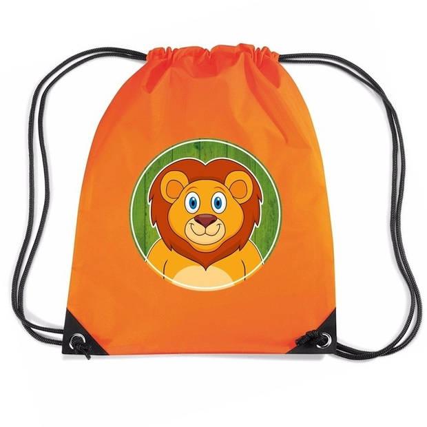Leeuwen rijgkoord rugtas / gymtas - oranje - 11 liter - voor kinderen