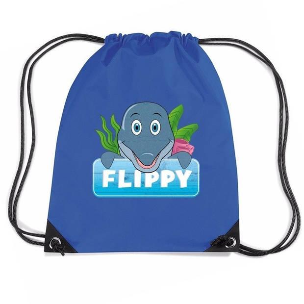 Flippy de Dolfijn rijgkoord rugtas / gymtas - blauw - 11 liter - voor kinderen