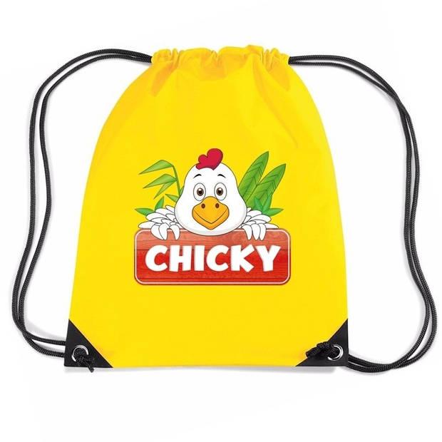 Chicky de Kip rijgkoord rugtas / gymtas - geel - 11 liter - voor kinderen