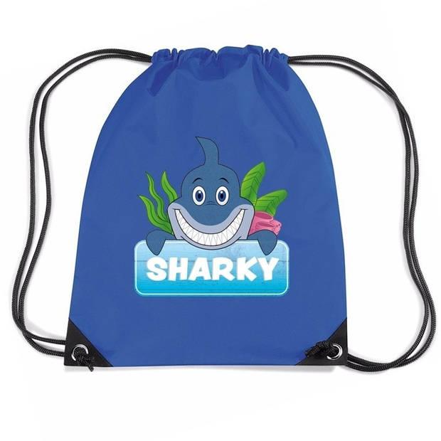 Sharky de haai rijgkoord rugtas / gymtas - blauw - 11 liter - voor kinderen