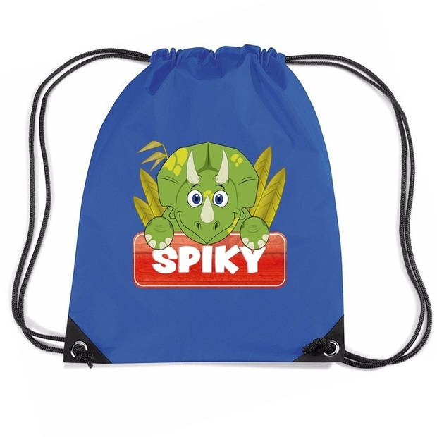 Spiky de dinosaurus rijgkoord rugtas / gymtas - blauw - 11 liter - voor kinderen