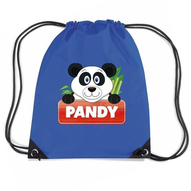 Pandy de Panda rijgkoord rugtas / gymtas - blauw - 11 liter - voor kinderen