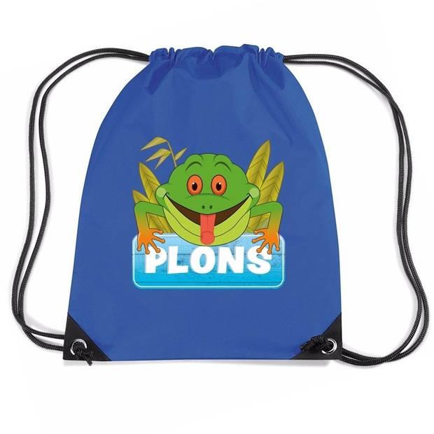 Plons de Kikker rijgkoord rugtas / gymtas - blauw - 11 liter - voor kinderen