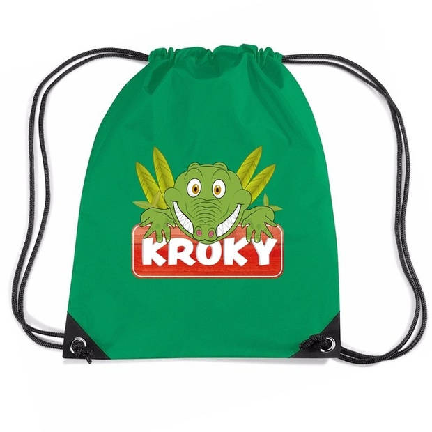 Kroky de Krokodil rijgkoord rugtas / gymtas - groen - 11 liter - voor kinderen