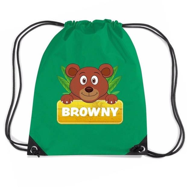Browny de Beer rijgkoord rugtas / gymtas - groen - 11 liter - voor kinderen
