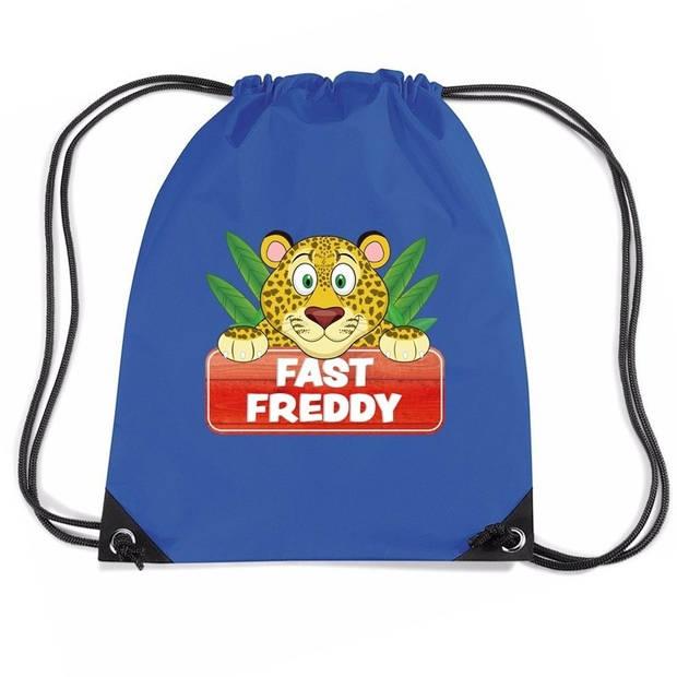Fast Freddy het luipaard rijgkoord rugtas / gymtas - blauw - 11 liter - voor kinderen