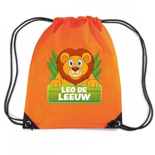 Leo de Leeuw rijgkoord rugtas / gymtas - oranje - 11 liter - voor kinderen
