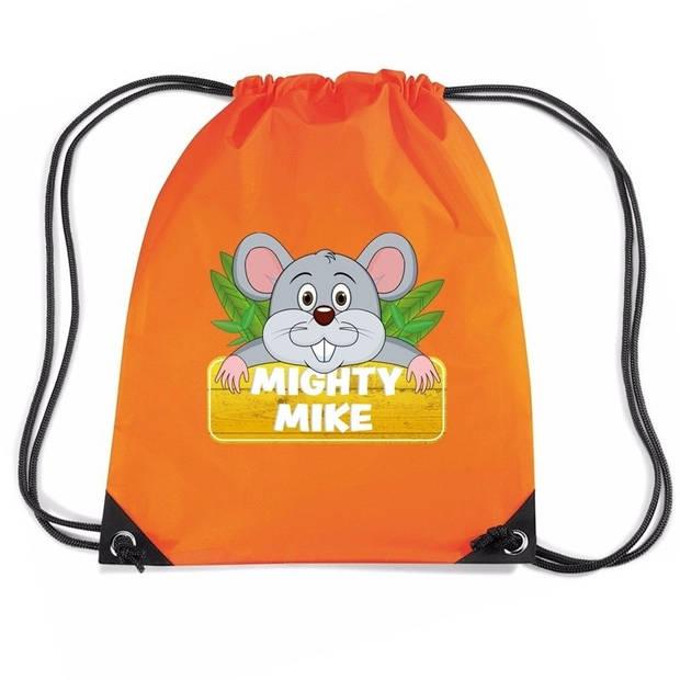 Muis Mighty Mike rijgkoord rugtas / gymtas - oranje - 11 liter - voor kinderen