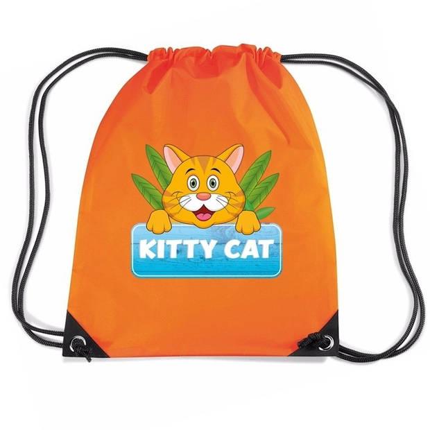 Kitty Cat katten rijgkoord rugtas / gymtas - oranje - 11 liter - voor kinderen