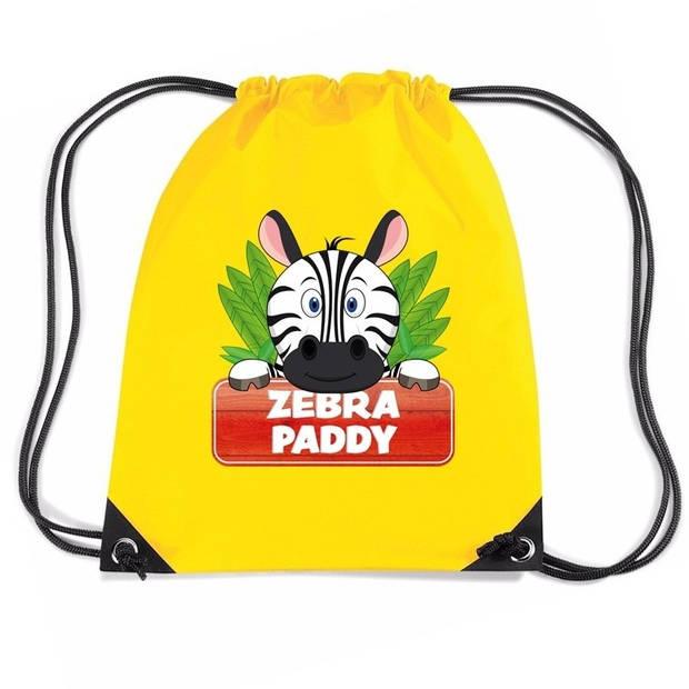 Paddy de Zebra rijgkoord rugtas / gymtas - geel - 11 liter - voor kinderen