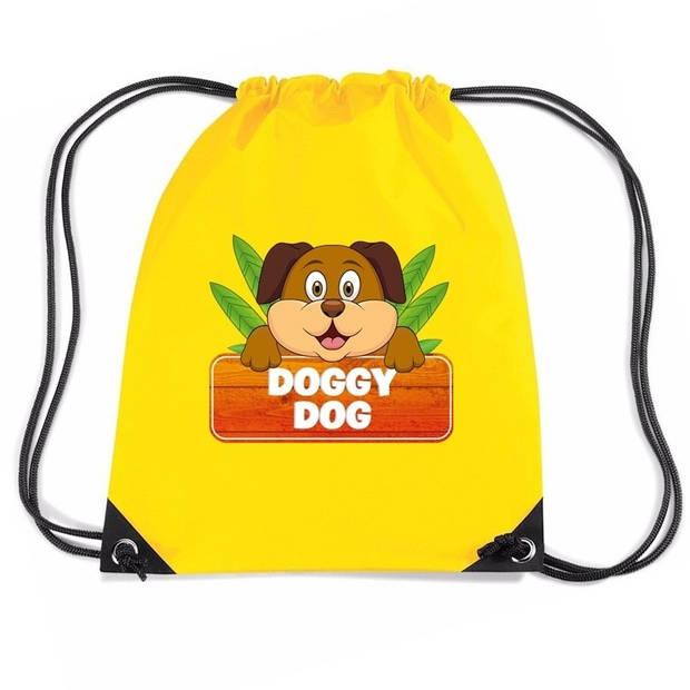 Doggy Dog de hond rijgkoord rugtas / gymtas - geel - 11 liter - voor kinderen