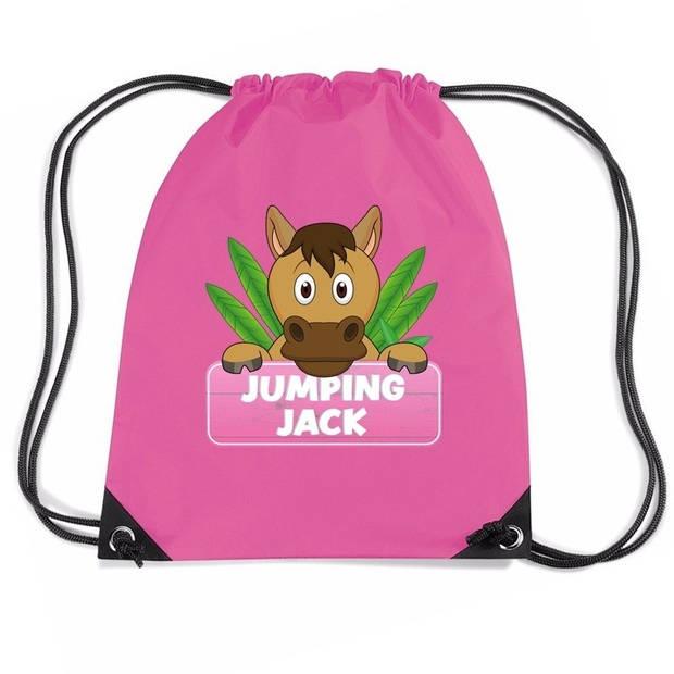 Jumping Jack paarden rijgkoord rugtas / gymtas - roze - 11 liter - voor kinderen