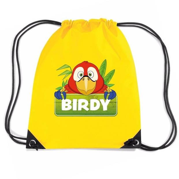 Birdy de Papegaai rijgkoord rugtas / gymtas - geel - 11 liter - voor kinderen