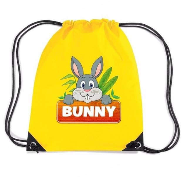 Bunny het Konijn rijgkoord rugtas / gymtas - geel - 11 liter - voor kinderen