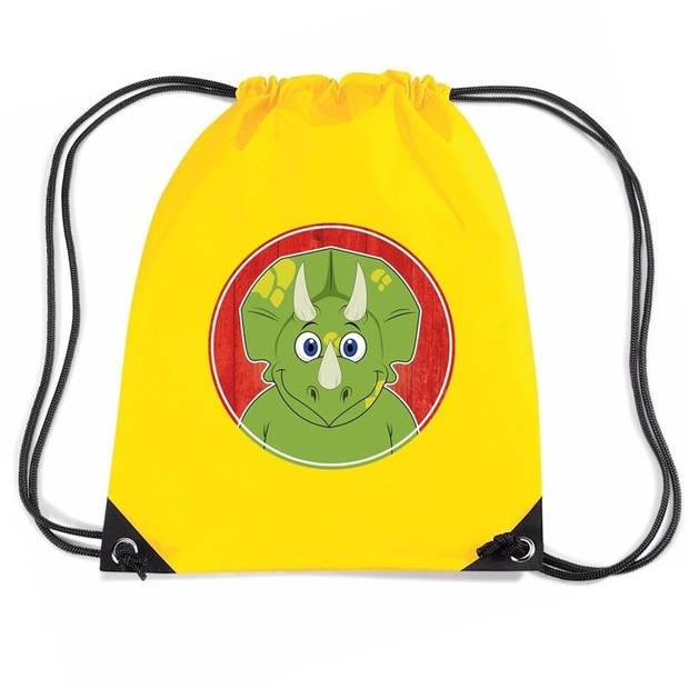 Dinosaurus rijgkoord rugtas / gymtas - geel - 11 liter - voor kinderen