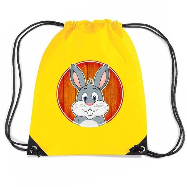 Konijnen rijgkoord rugtas / gymtas - geel - 11 liter - voor kinderen
