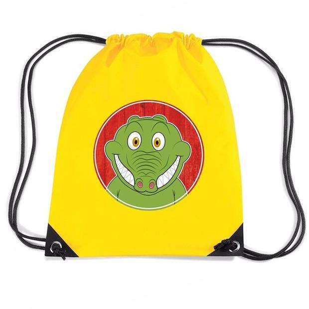 Krokodillen rijgkoord rugtas / gymtas - geel - 11 liter - voor kinderen
