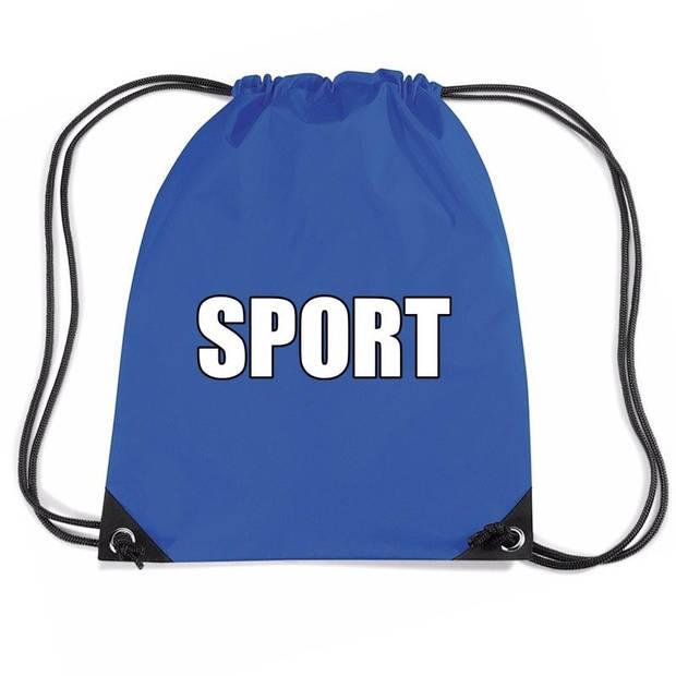 Nylon sport gymtasje/ sporttasje/ zwemtasje blauw jongens en meisjes