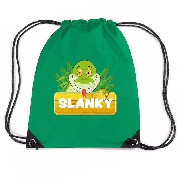 Slanky de Slang rijgkoord rugtas / gymtas - groen - 11 liter - voor kinderen
