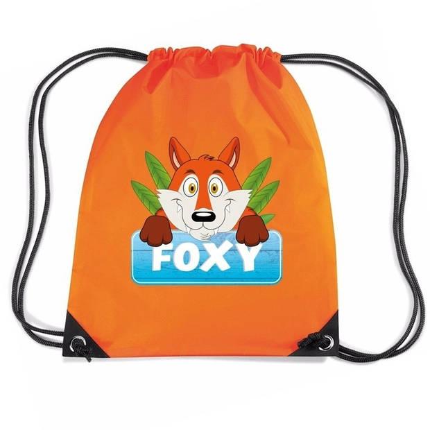 Foxy de Vos rijgkoord rugtas / gymtas - oranje - 11 liter - voor kinderen