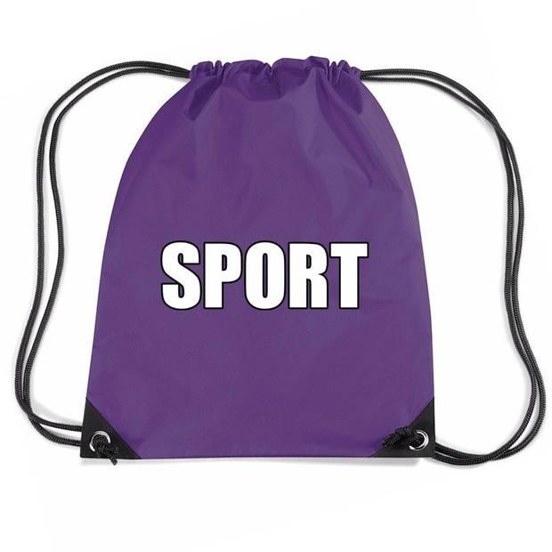 Nylon sport gymtasje/ sporttasje/ zwemtasje paars jongens en meisjes