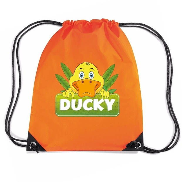 Ducky de eend rijgkoord rugtas / gymtas - oranje - 11 liter - voor kinderen