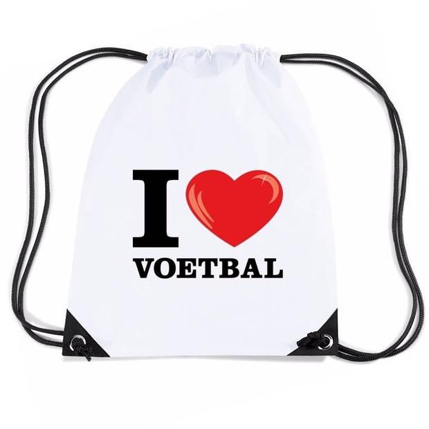 Nylon I love voetbal rugzak/ sporttas wit met rijgkoord
