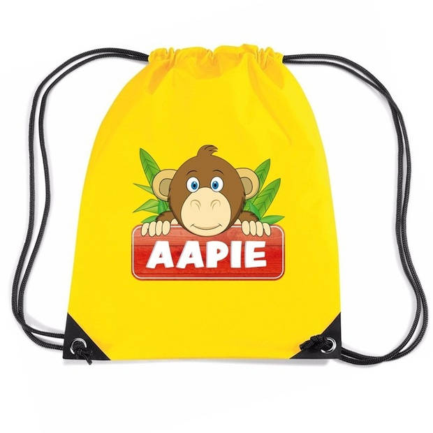 Aapie de Aap rijgkoord rugtas / gymtas - geel - 11 liter - voor kinderen