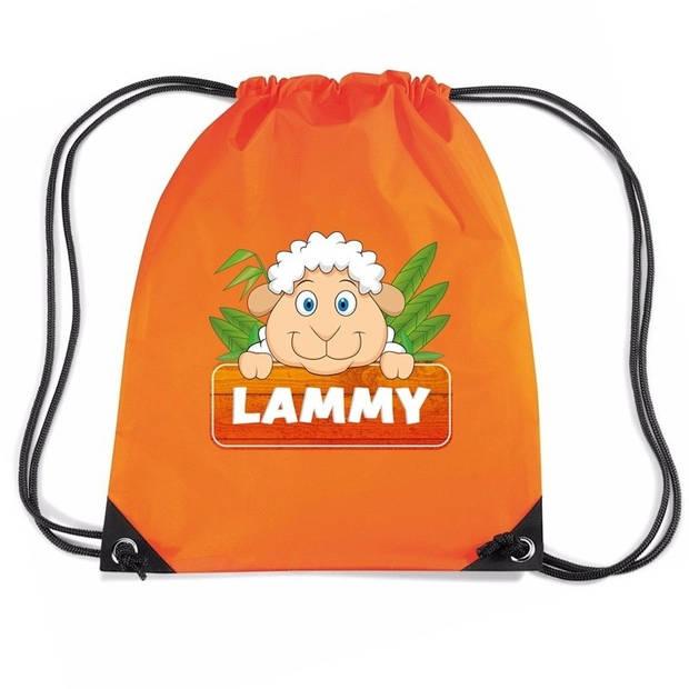Lammy het schaap / lammetje rijgkoord rugtas / gymtas - oranje - 11 liter - voor kinderen