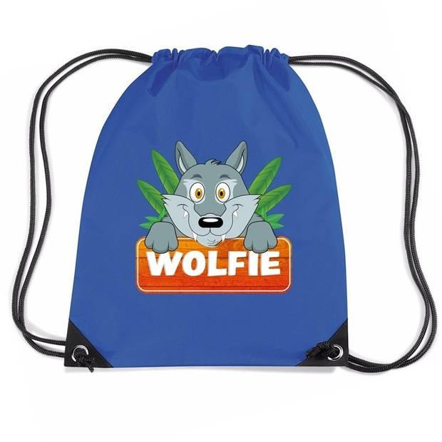 Wolfie de Wolf rijgkoord rugtas / gymtas - blauw - 11 liter - voor kinderen