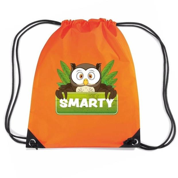 Smarty de Uil rijgkoord rugtas / gymtas - oranje - 11 liter - voor kinderen