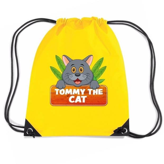 Tommy the Cat katten rijgkoord rugtas / gymtas - geel - 11 liter - voor kinderen