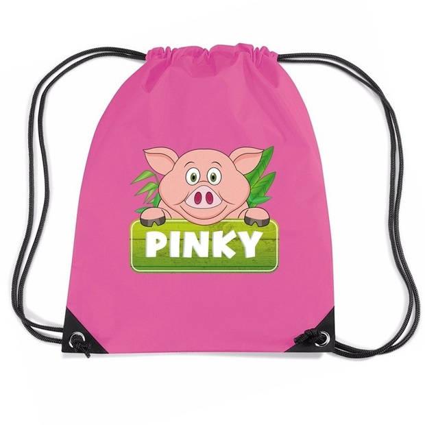 Pinky the Pig varkens rijgkoord rugtas / gymtas - roze - 11 liter - voor kinderen