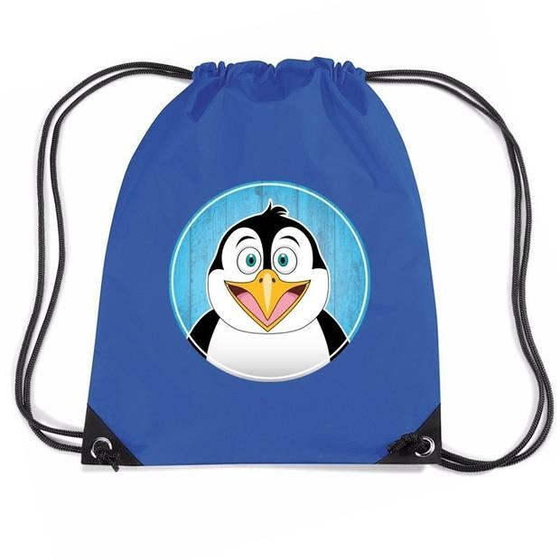 Pinguins rijgkoord rugtas / gymtas - blauw - 11 liter - voor kinderen