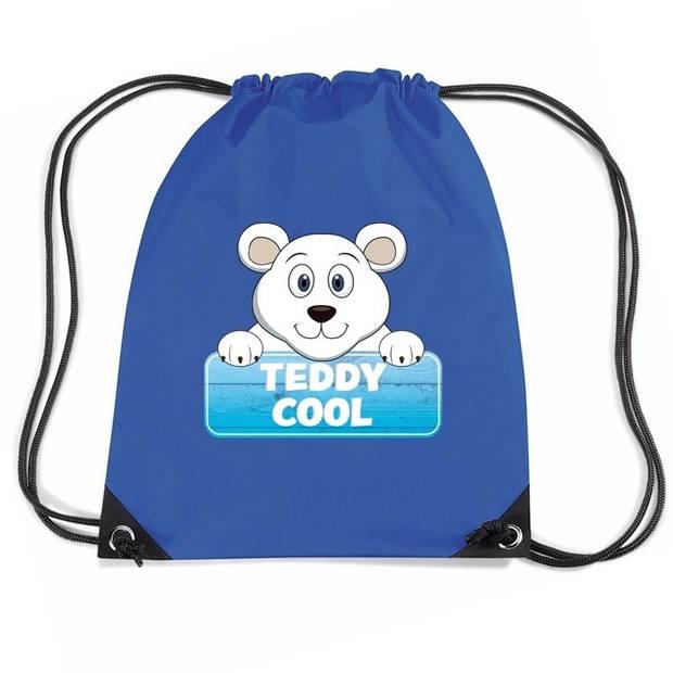 Teddy Cool de ijsbeer rijgkoord rugtas / gymtas - blauw - 11 liter - voor kinderen