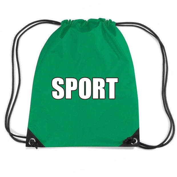 Nylon sport gymtasje/ sporttasje/ zwemtasje groen jongens en meisjes