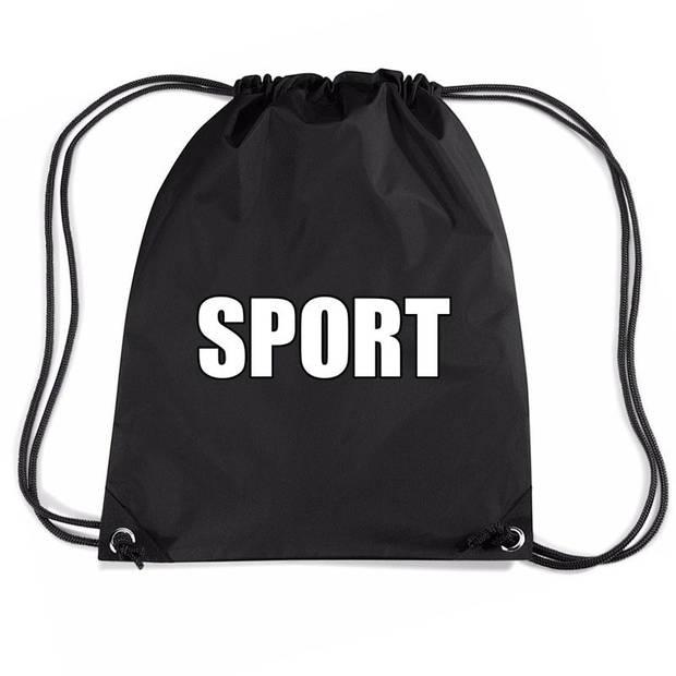 Nylon sport gymtasje/ sporttasje/ zwemtasje zwart jongens en meisjes