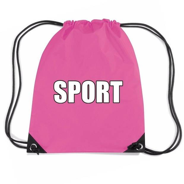 Nylon sport gymtasje/ sporttasje/ zwemtasje roze jongens en meisjes