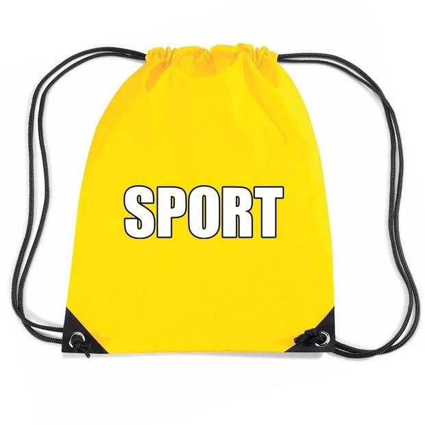 Nylon sport gymtasje/ sporttasje/ zwemtasje geel jongens en meisjes