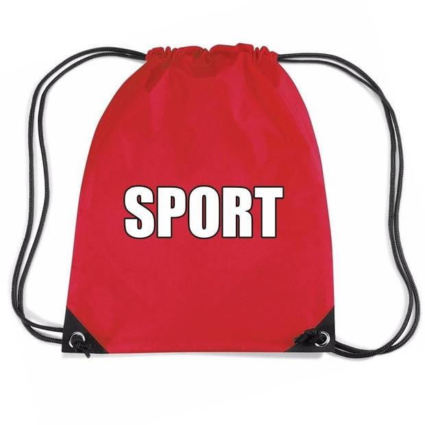 Nylon sport gymtasje/ sporttasje/ zwemtasje rood jongens en meisjes