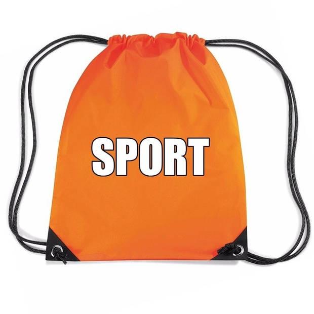 Nylon sport gymtasje/ sporttasje/ zwemtasje oranje jongens en meisjes