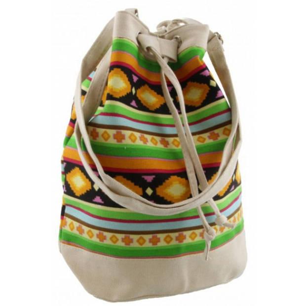 Beige mochila schoudertasje 30 cm voor meisjes/dames - Kleine festival tasjes - Bucketbags