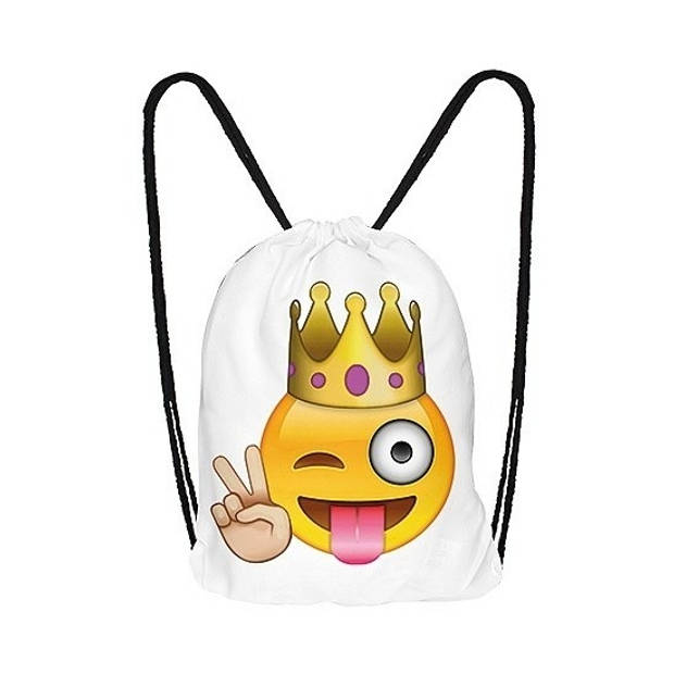 Emoticon gymtasje knipoog met kroon