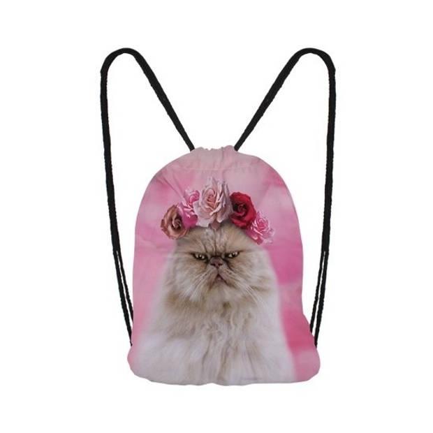 Rugtas roze met rijgkoord en kat/poes print