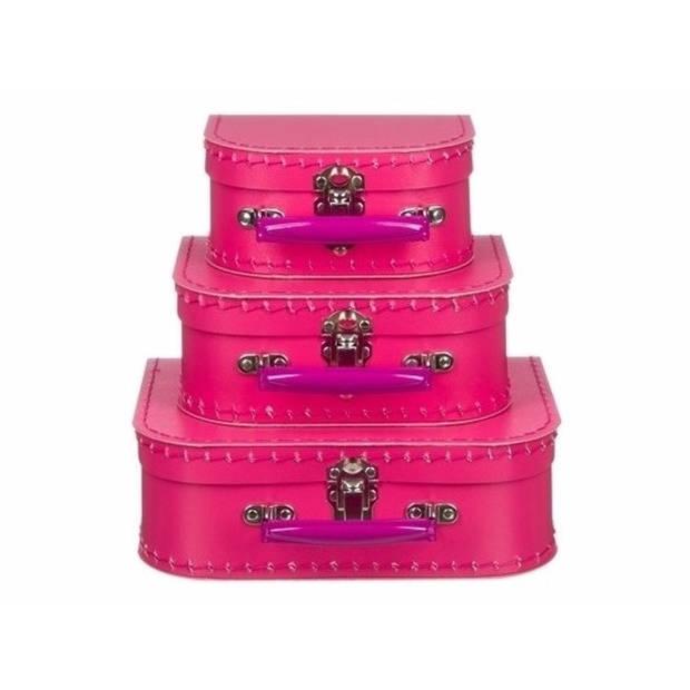 Poppen koffertje fuchsia roze 16 cm
